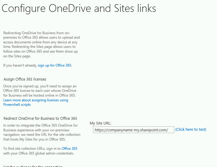 Configuring your OneDrive redirect from SharePoint on